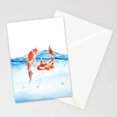 Happy koi fish- fishes sea water lake Stationery Cards