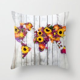 French Floral Bouquet on Rustic Upcycled Palette Wood World Map Art Throw Pillow