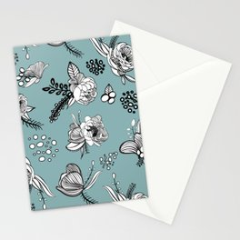 Misty Turquoise Line Art Stationery Cards