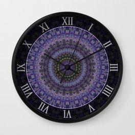 Floral mandala in violet and purple tones Wall Clock
