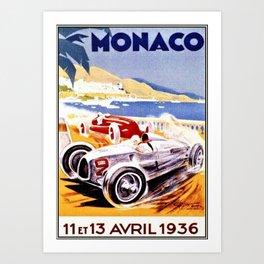 Vintage 1936 Monaco Grand Prix Racing Wall Art Art Print
