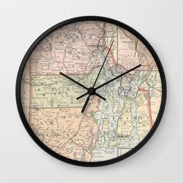 Vintage Map of Rhode Island (1891) Wall Clock