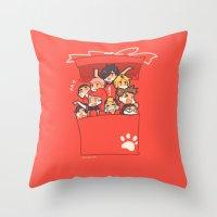 haikyuu Throw Pillows featuring Haikyuu!! Nekoma Team by Kim Quim