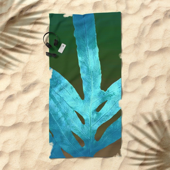 Autumn Leaves Blue and Cold Fall to the Ground Beach Towel
