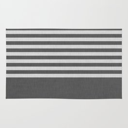 Dark and light gray color block and stripes Rug