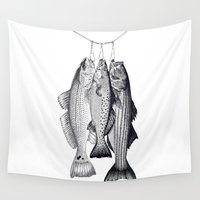 drum Wall Tapestries featuring 3 Amigos - Red Drum, Sea Trout, Striped Bass by Newmanart7 -- JT and Nancy Newman, Art a