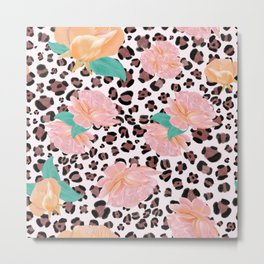 Leopard and watercolor roses pattern  Metal Print