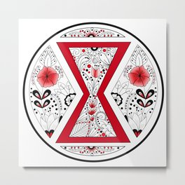 Black Widow Mandala red Metal Print