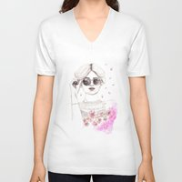 cherry blossoms V-neck T-shirts featuring Cherry Blossoms by Ashlee Spink Illustration