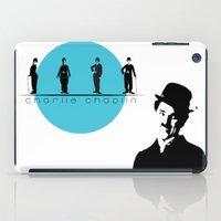 charlie chaplin iPad Cases featuring Stencil Charlie Chaplin by L & T Designs