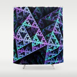 Lilac Ice 3D Sierpinski Triangle Fractal Art Shower Curtain