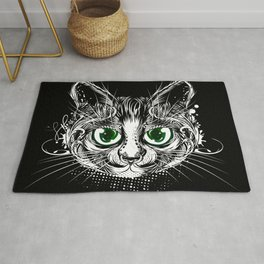 Cat portrait with green eyes Rug