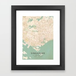 Singapore, Singapore - Vintage Map Framed Art Print