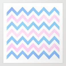 Blue Pink Textured Vintage Chevron Art Print