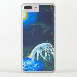 Unicorn and Pond Acrylic Painting Clear iPhone Case
