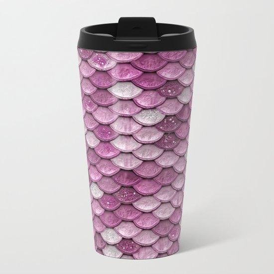 Light Pink Glitter mermaid sparkling scales - Mermaidscales Metal Travel Mug