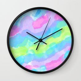 Lovely Colorful Watercolor Clouds Wall Clock