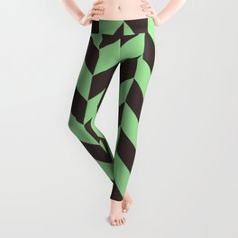 Charcoal And Green Chevron Pattern Leggings