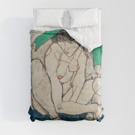 Egon Schiele - Crouching Woman with Green Headscarf Comforters