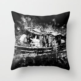 old ship boat wreck ws bw Throw Pillow