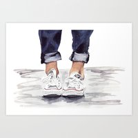 converse Art Prints featuring Converse by Bridget Davidson