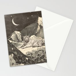 Giant White Tiger in Mountains Stationery Cards
