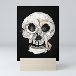 Tarot Reader Girl - Optical Illusion Skull Mini Art Print