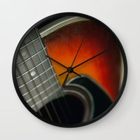guitar Wall Clocks featuring Guitar by Bruce Stanfield