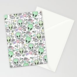 Alien and UFO pattern Stationery Cards