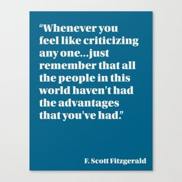 Fitzgerald on Privilege Canvas Print