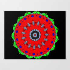 Lovely Healing Mandala  in Brilliant Colors: Black, Maroon, Green, Red, Royal Blue, and Gray Canvas Print