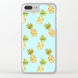 Blue Tropical Pineapple Pattern Clear iPhone Case