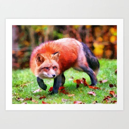 Autumn Fox hunting Art Print