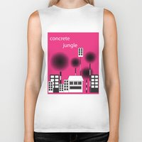 concrete Biker Tanks featuring concrete jungle by k. Wang