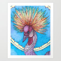 Crowned Crane Art Print