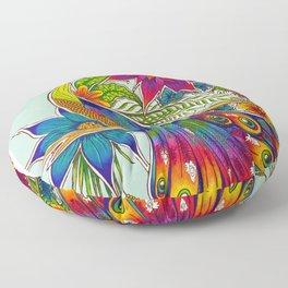 Rainbow Peacock Floor Pillow