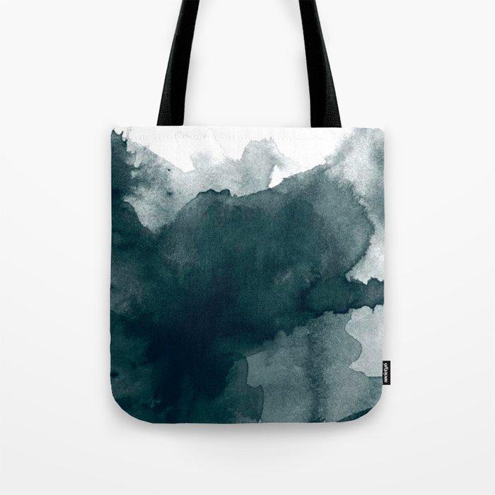 Dark Green Watercolor Marble Tote Bag