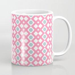 Geometric Pattern - Diamonds and Dots - Pink & Green Coffee Mug