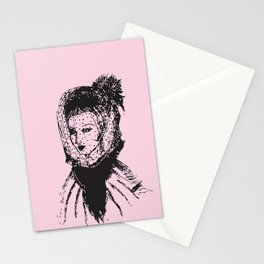 Veiled Lady on Pink Stationery Cards