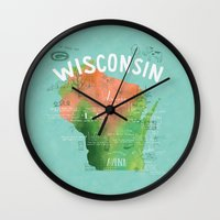 wisconsin Wall Clocks featuring Wisconsin Map by Stephanie Marie Steinhauer
