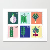 vegetable Canvas Prints featuring Vegetable Stamps by Christopher Dina