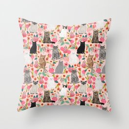 Cat floral mixed breeds of cats gifts for pet lovers cat ladies florals Throw Pillow