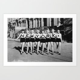 NEW YORK Vintage Girls Art Print