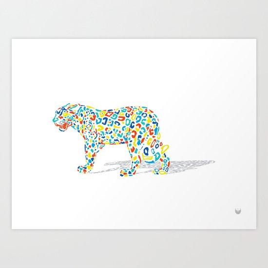 Technicolor Jaguar Art Print