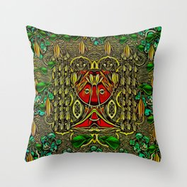 leather lady among spring flowers Throw Pillow