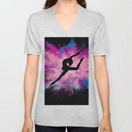 gymnast dancer colour splash Unisex V-Neck