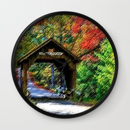 Swamp Meadow Covered Bridge - Scituate-Foster, Rhode Island by Jeanpaul Ferro Wall Clock