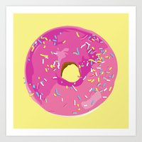 donut Art Prints featuring donut by Britt Mansouri