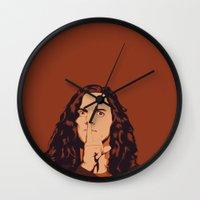 eddie vedder Wall Clocks featuring Eddie Vedder by Renan Lacerda