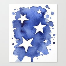 Stars Abstract Blue Watercolor Geometric Painting Canvas Print